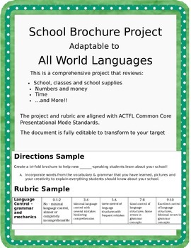 School Brochure Foreign Language Review Project - Spanish, French, German, etc