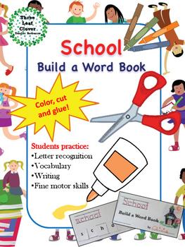 School Build a Word Book - Color, Cut and Glue Activity