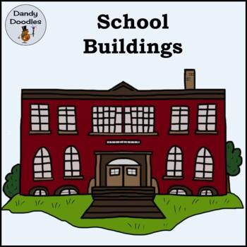School Buildings Clip Art by Dandy Doodles
