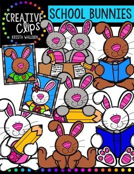 School Bunnies {Creative Clips Digital Clipart}