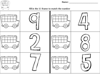 School Bus 10 Frames Print and Go Worksheets