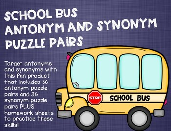 School Bus Antonym and Synonym Puzzle Pairs