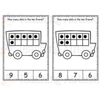 School Bus, Back to School, Ten Frame Task Cards
