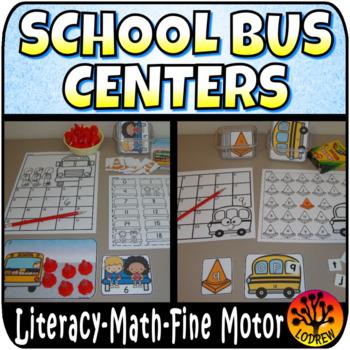 School Bus Centers Activities Literacy Math Back To School Tubs Fine Motor