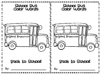 School Bus Color Word Emergent Reader