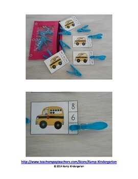 School Bus Count and Clip Cards (Sets to 10)