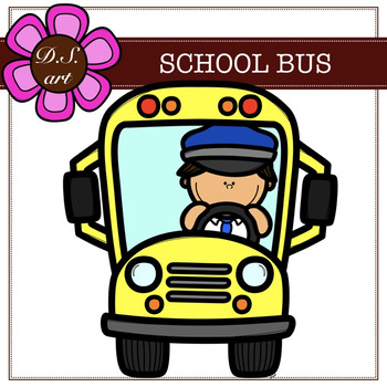 School Bus Digital Clipart (color and black&white)