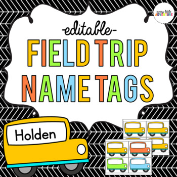 school bus field trip name tags editable by every little