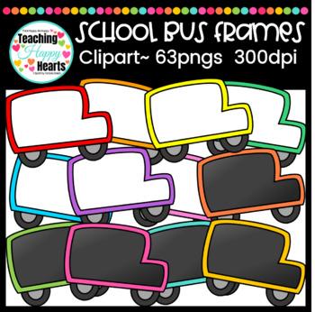 School Bus Frames Clipart {white & chalkboard fill}