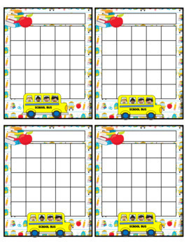 School Bus Incentive Reward Charts