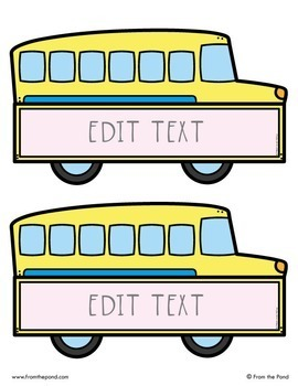 School Bus Labels for the Classroom {Editable}