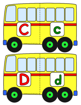 School Bus Letter Matching Puzzles