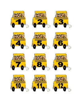 School Bus Numbers for Calendar or Counting Activity