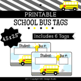 Printable Tags, School Bus, Labels, Name Tags - Classroom Decoration