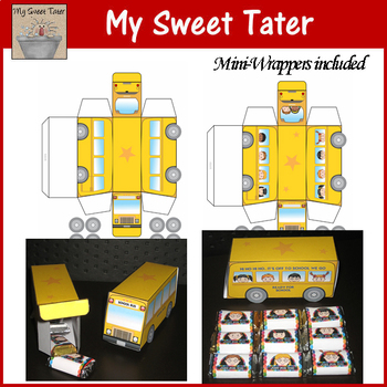 School Bus Printable Treat Box and Mini-Wrappers