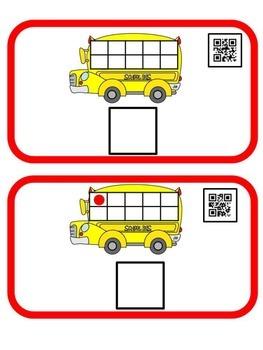 School Bus QR Code Ten Frame 0-10
