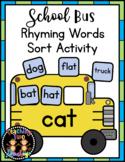 School Bus Rhyming Words Sort Literacy Center Activity (CVC, CVCC, CCVC, CCVCC)