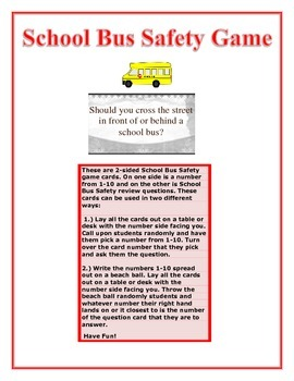 School Bus Safety Game
