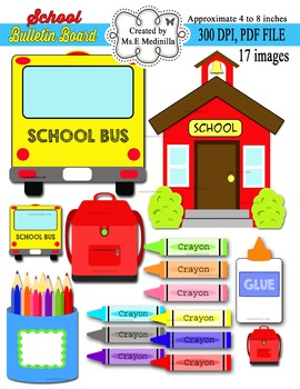School Bus School House Bulletin Board Clip Art
