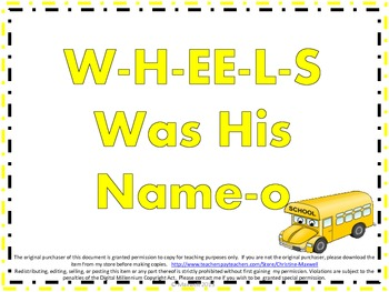 Back To School Bus Song And Posters W-H-EE-L-S Was His Name-O