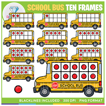 School Bus Ten Frames Clip Art