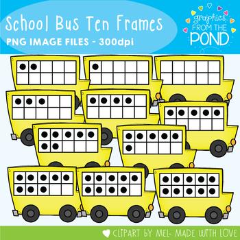 School Bus Ten Frames Clipart