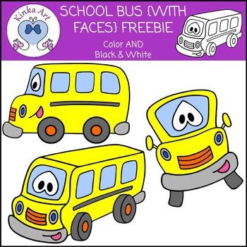 School Bus {With Faces} Clip Art FREEBIE