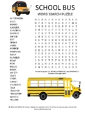 School Bus Word Search Puzzle Activity Worksheet Game + Easel Activity