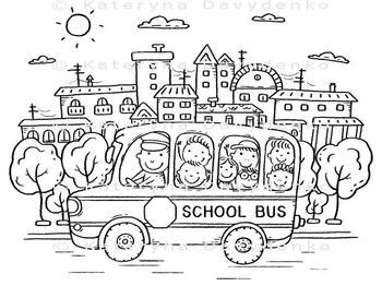 School Bus with Kids in the City