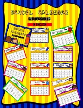 School Calendar 2017 - 2018 in English