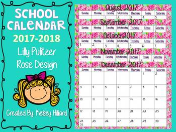 School Calendar 2017-2018 Lilly Pulitzer Rose Design