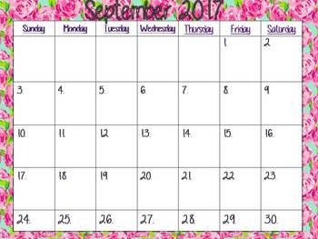 School Calendar 2017-2018 Lilly Pulitzer Rose Design