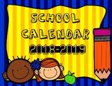 School Calendar 2018 - 2019 - In English