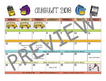 School Calendar: August 2018