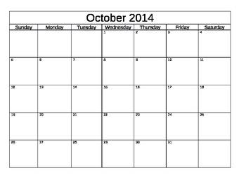 School Calendar (Blank) 2014-2015