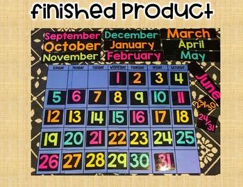 School Calendar! Calendar Grid, Months and Days