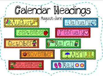 School Calendar Headings