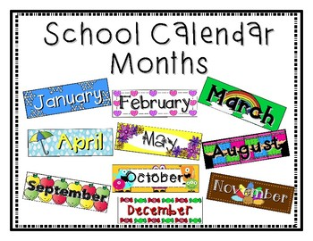 School Calendar Months Aug-May