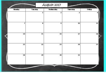 School Calendar Pack 2017-2018