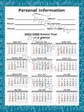 School Year Calendar at a Glance - Build Your Own Planner - (1 B&W form)