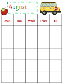 School Calendar for Any Year