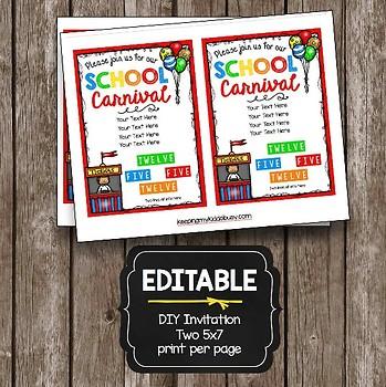 School Carnival Advertising Pack - Poster - Flyer - Invitation EDITABLE