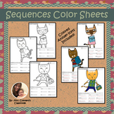 Arithmetic & Geometric Sequences | School Cats Color by Number Worksheets