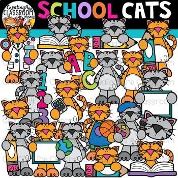 School Cats Clipart {School Clipart}