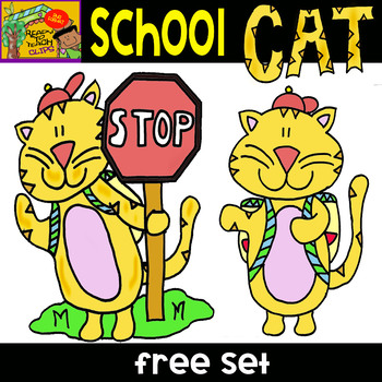 School Cat -  Free Cliparts Set - 6 Items