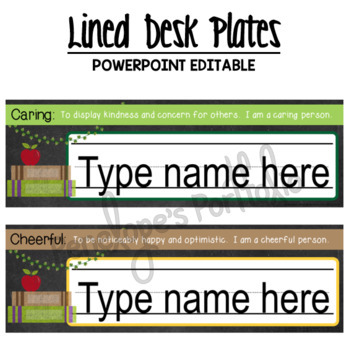 Desk Plates / Name Plates - Character Education & School Chalkboard Theme