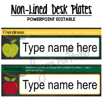 Desk Plates / Name Plates - Character Education & School Chalkboard Theme