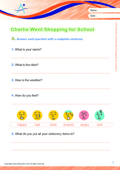 School - Charlie Went Shopping for School - Grade 1