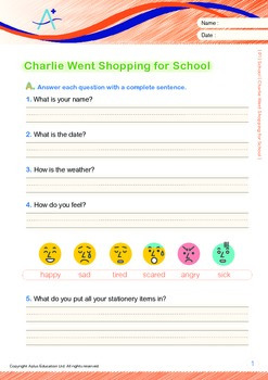 School - Charlie Went Shopping for School (with 'Triple-Track Writing Lines')