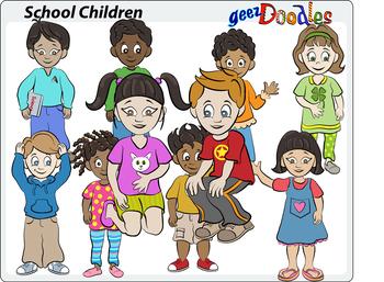School Children Clipart, Young Students